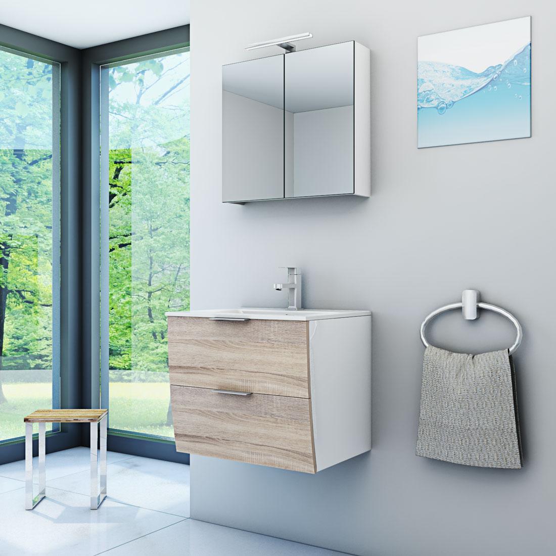 badm bel set gently 2 v1 wei eiche hell badezimmerm bel waschtisch 60cm. Black Bedroom Furniture Sets. Home Design Ideas