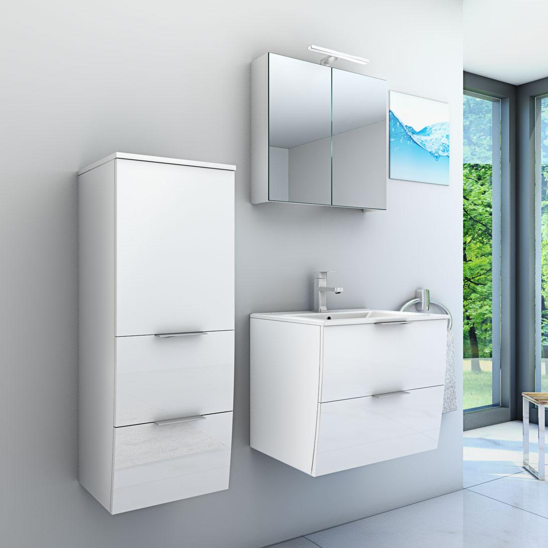 Badmöbel Set Gently 2 V2-L Hochglanz weiß, Badezimmermöbel, Waschtisch