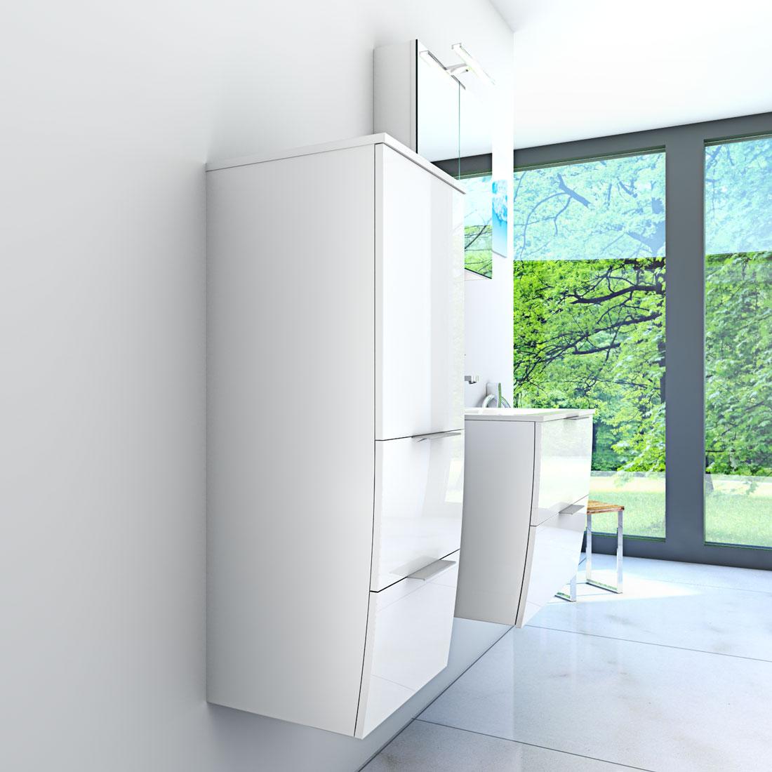 badm bel set gently 2 v2 l hochglanz wei badezimmerm bel waschtisch 60cm. Black Bedroom Furniture Sets. Home Design Ideas