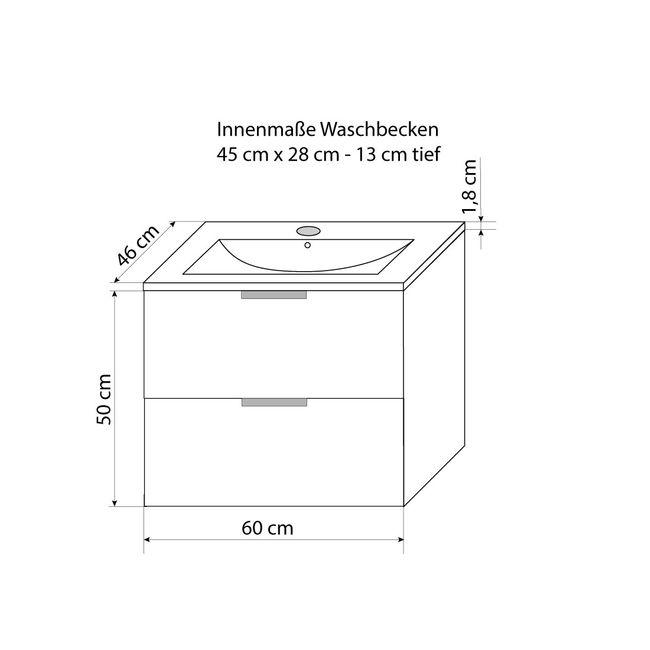 Badmöbel Set Gently 2 V2-L Hochglanz weiß, Badezimmermöbel, Waschtisch 60cm – Bild 13