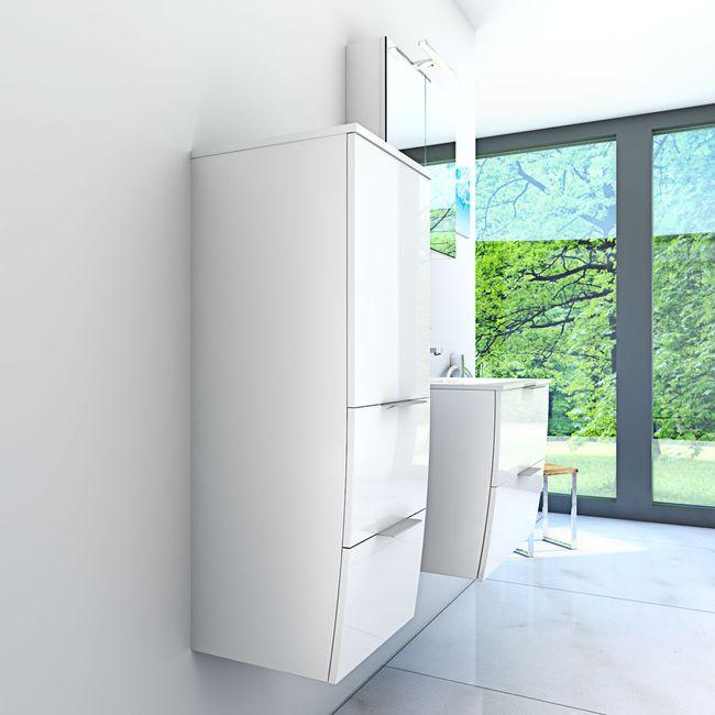 Badmöbel Set Gently 2 V2-L Hochglanz weiß, Badezimmermöbel, Waschtisch 60cm – Bild 4