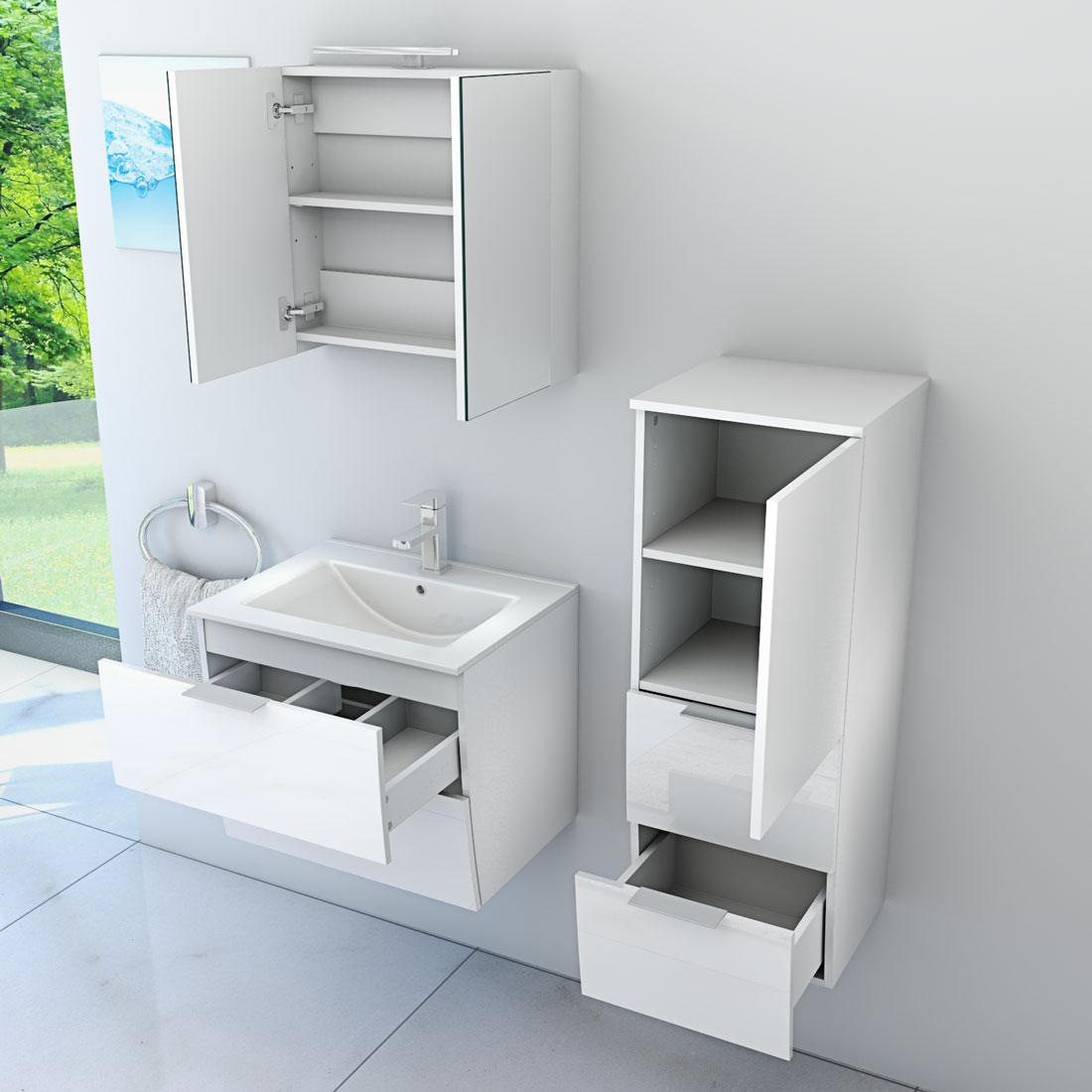 badm bel set gently 2 v2 r hochglanz wei badezimmerm bel waschtisch 60cm. Black Bedroom Furniture Sets. Home Design Ideas