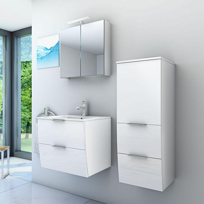 Badmöbel Set Gently 2 V2-R Hochglanz weiß, Badezimmermöbel, Waschtisch 60cm – Bild 1