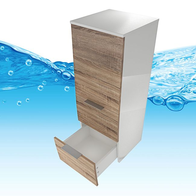 Badmöbel Set Gently 2 V2-L weiß / Eiche hell, Badezimmermöbel, Waschtisch 60cm – Bild 16