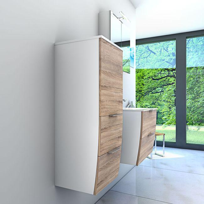 Badmöbel Set Gently 2 V2-L weiß / Eiche hell, Badezimmermöbel, Waschtisch 60cm – Bild 4