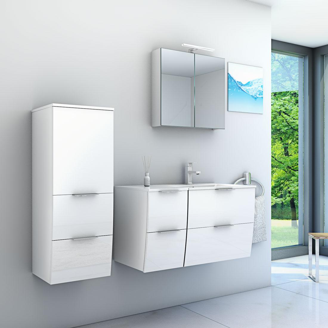 Badmöbel Set Gently 2 V3-L Hochglanz weiß, Badezimmermöbel, Waschtisch