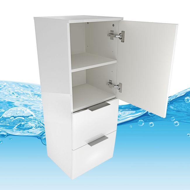 Badmöbel Set Gently 2 V4-R Hochglanz weiß, Badezimmermöbel, Waschtisch 60cm – Bild 17