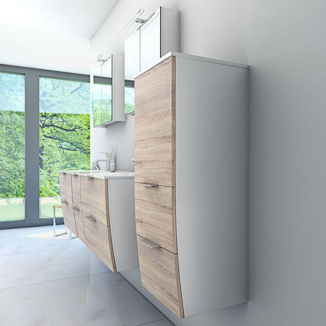 Badmöbel Set Gently 2 V4-R weiß / Eiche hell, Badezimmermöbel, Waschtisch 60cm – Bild 4