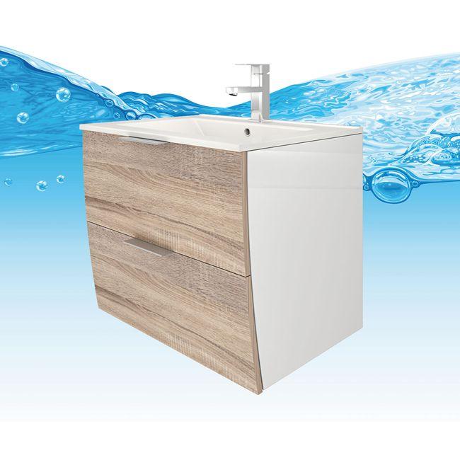 Badmöbel Set Gently 2 V4-R weiß / Eiche hell, Badezimmermöbel, Waschtisch 60cm – Bild 10