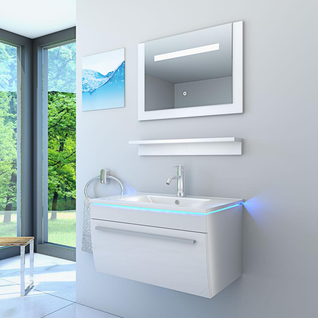 Badezimmermöbel weiß  Badmöbel Set Gently 3 V1 Hochglanz weiß, Badezimmermöbel, Waschtisch