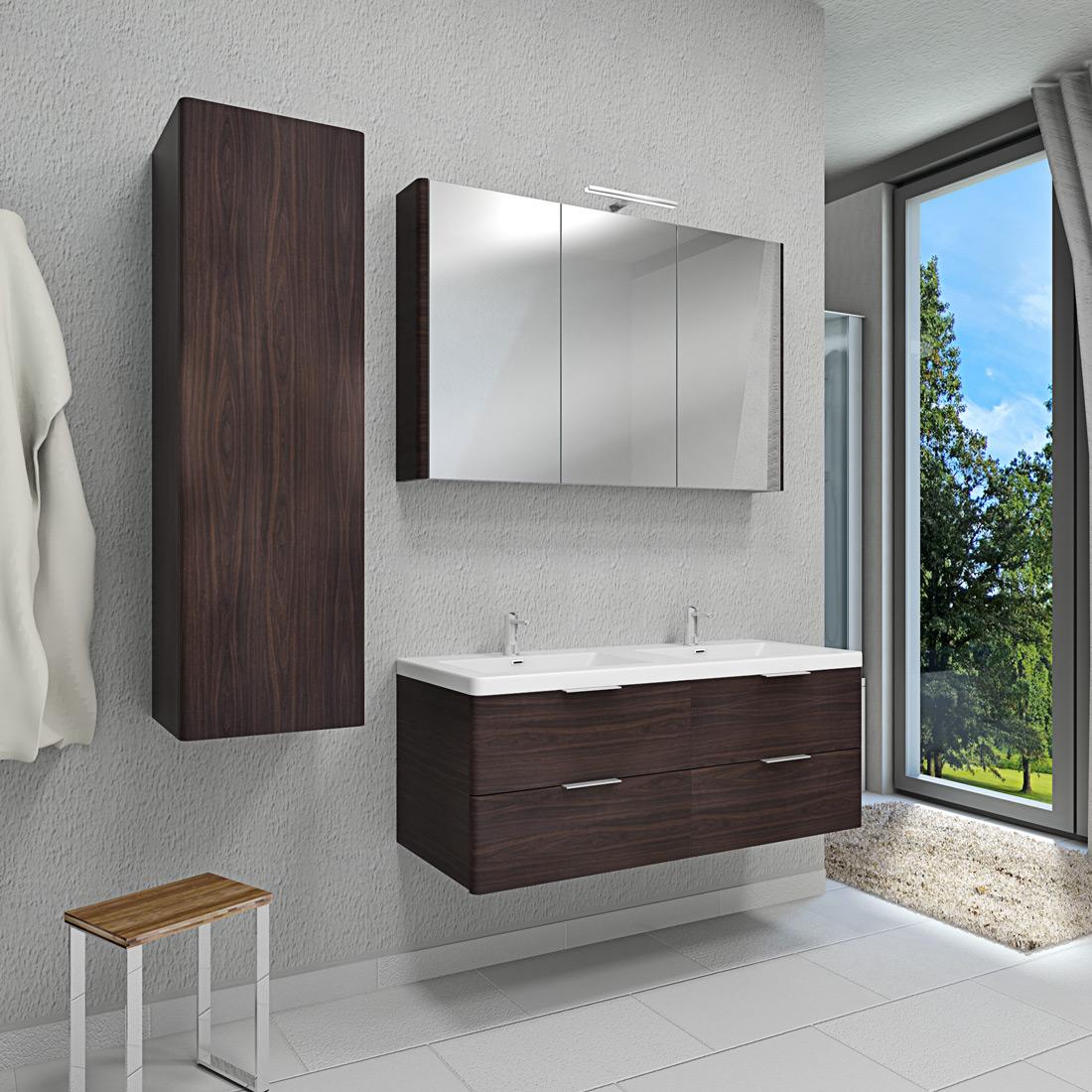 waschtisch mit waschbecken unterschrank curve 214 120cm mdf wallnuss. Black Bedroom Furniture Sets. Home Design Ideas
