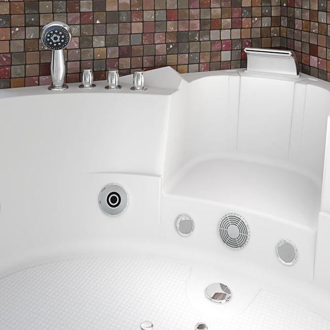 Whirlpool Pool Badewanne Eckwanne Wanne A1505H-ALL 140x140cm Reinigungsfunktion – Bild 8