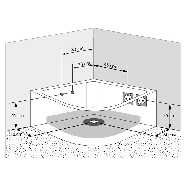 Whirlpool Pool Badewanne Eckwanne Wanne A1505-ALL 140x140cm Reinigungsfunktion – Bild 18