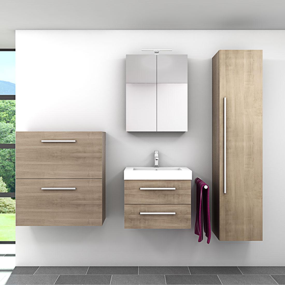 badm bel set city 101 v5 eiche hell badezimmerm bel waschtisch 60cm. Black Bedroom Furniture Sets. Home Design Ideas