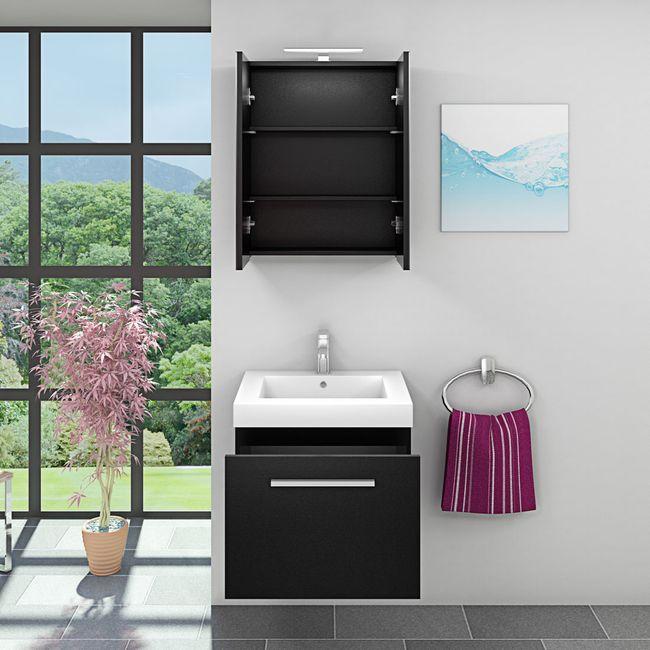 Badmöbel Set City 100 V1 Esche schwarz, Badezimmermöbel, Waschtisch 60cm – Bild 3
