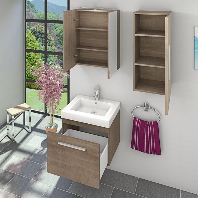 Badmöbel Set City 100 V2 Eiche hell, Badezimmermöbel, Waschtisch 60cm – Bild 4