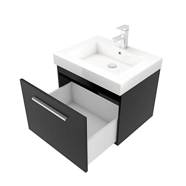 Badmöbel Set City 100 V7 Esche schwarz, Badezimmermöbel, Waschtisch 60cm – Bild 11