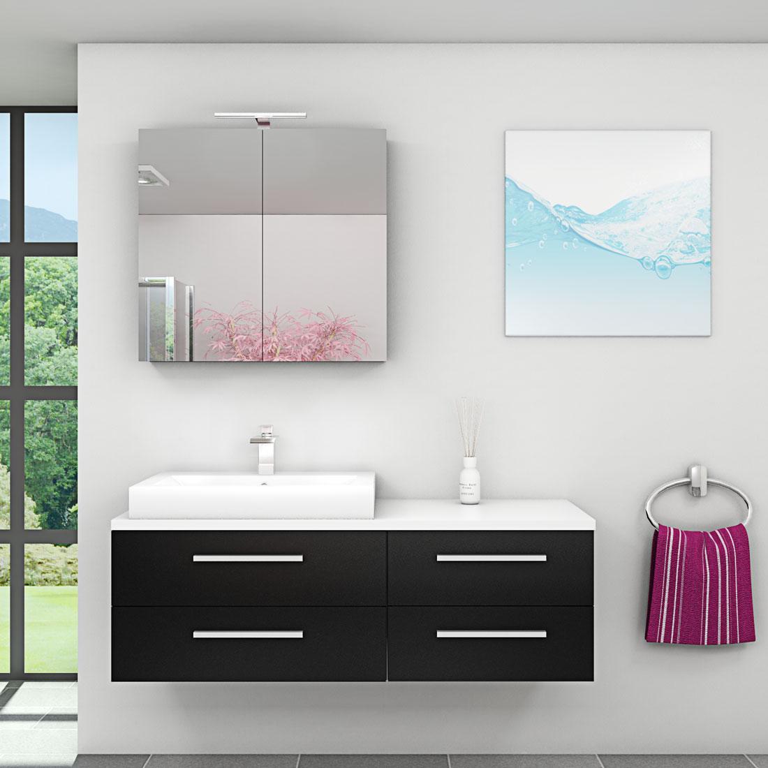 badm bel set city 210 v1 esche schwarz badezimmerm bel waschtisch 140cm. Black Bedroom Furniture Sets. Home Design Ideas