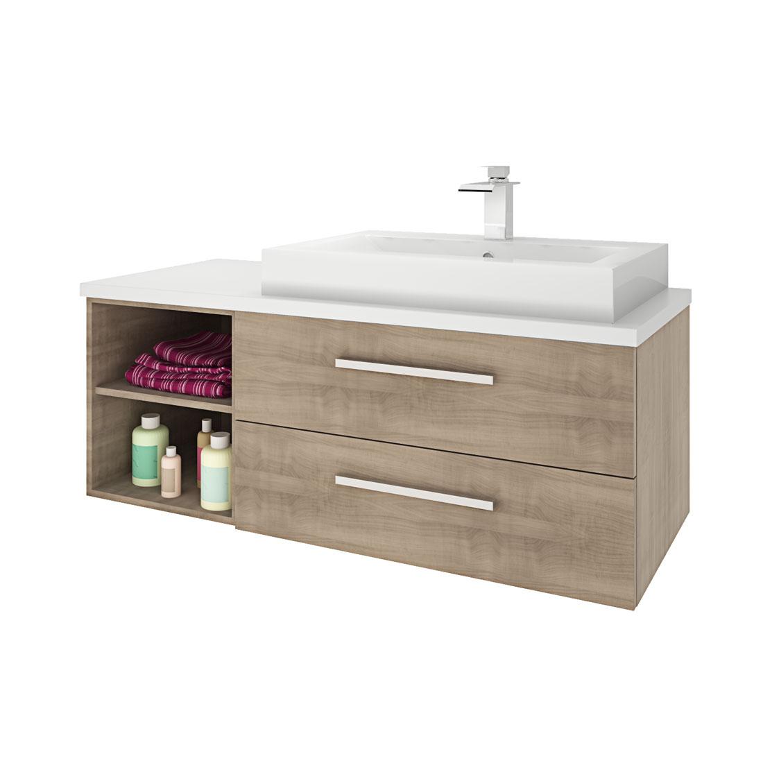waschtisch mit waschbecken unterschrank city 205 120cm eiche hell. Black Bedroom Furniture Sets. Home Design Ideas