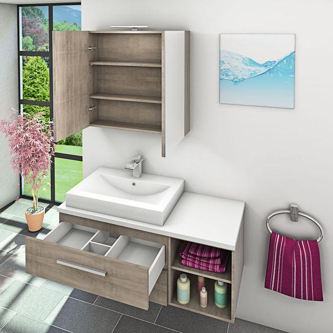 Waschtisch mit Waschbecken, Unterschrank City 205 120cm Eiche hell – Bild 9