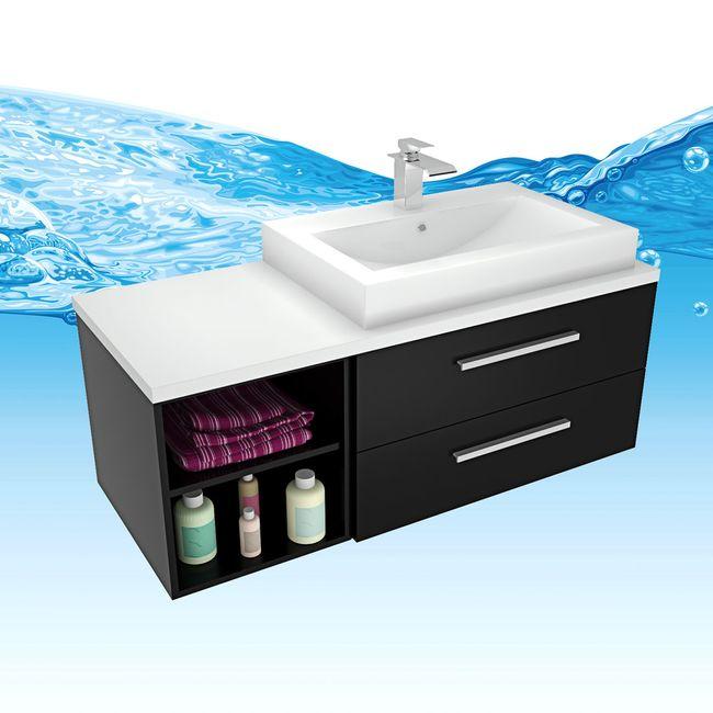Waschtisch mit Waschbecken, Unterschrank City 205 120cm Esche schwarz – Bild 2