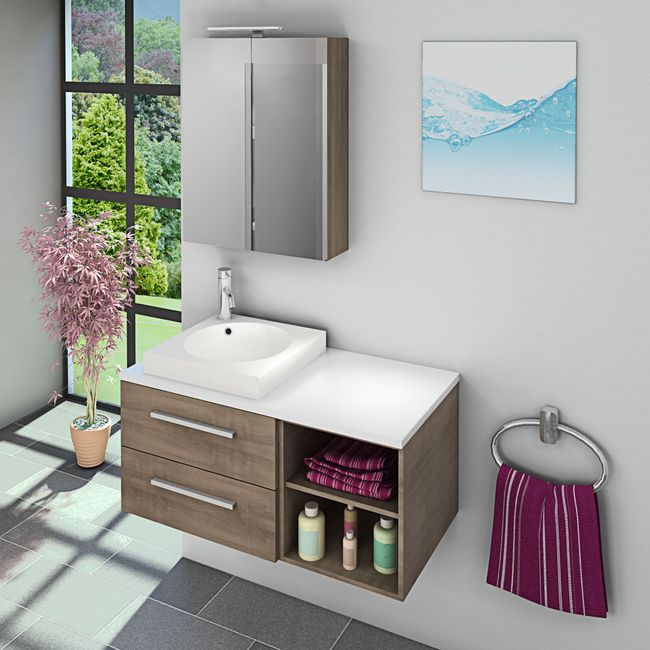 Waschtisch mit Waschbecken, Unterschrank City 205 100cm Eiche hell – Bild 7