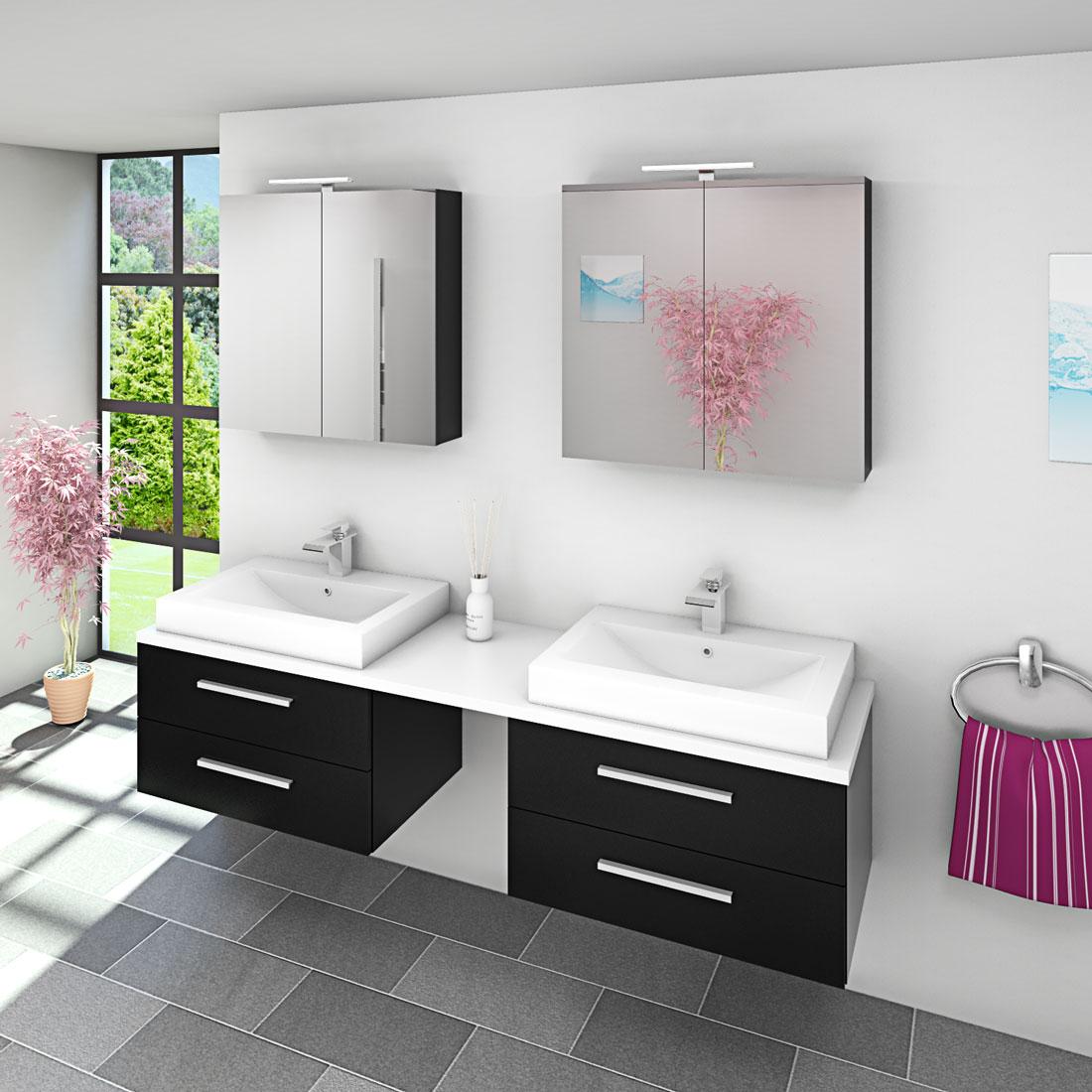 badm bel set city 207 v1 esche schwarz badezimmerm bel waschtisch 200cm. Black Bedroom Furniture Sets. Home Design Ideas