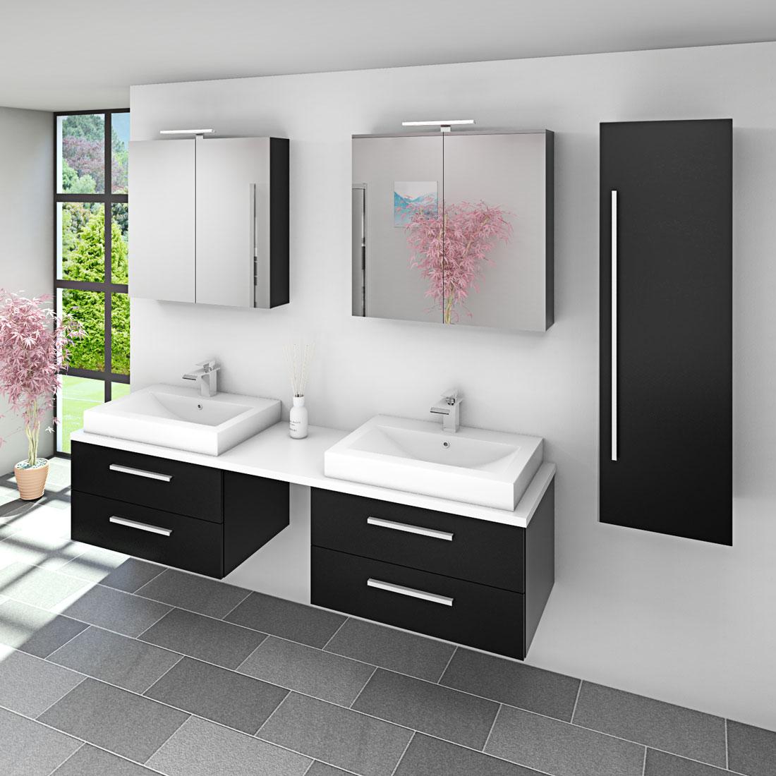 badm bel set city 207 v3 esche schwarz badezimmerm bel waschtisch 200cm. Black Bedroom Furniture Sets. Home Design Ideas