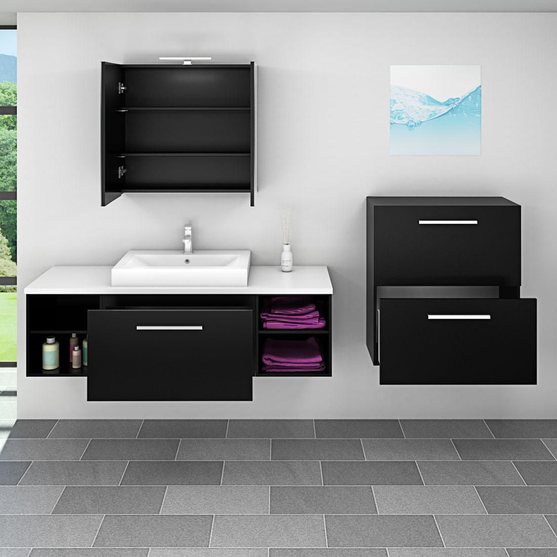badm bel set city 302 v6 esche schwarz badezimmerm bel waschtisch 160cm. Black Bedroom Furniture Sets. Home Design Ideas