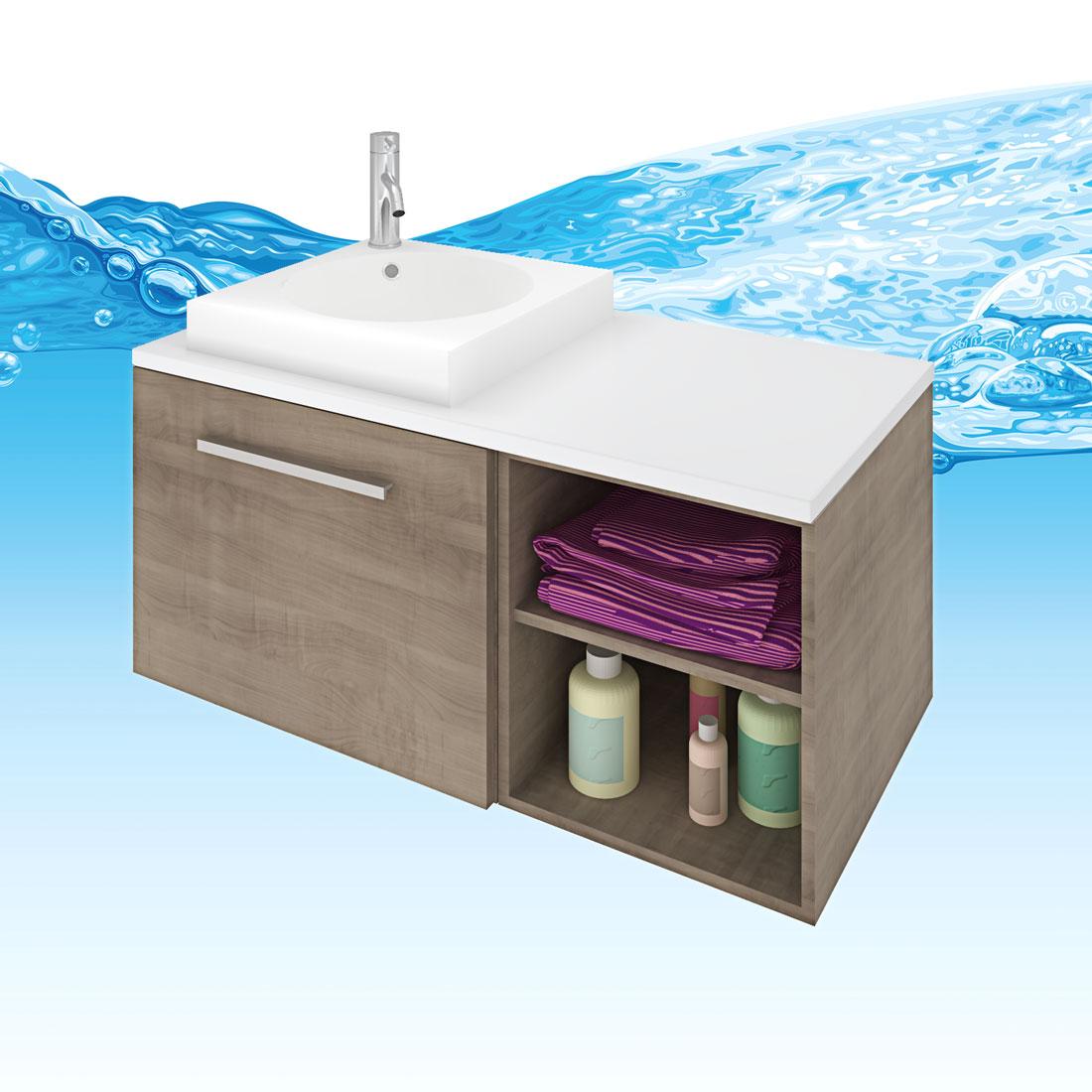 Waschtisch mit waschbecken unterschrank city 203 100cm for Unterschrank waschbecken
