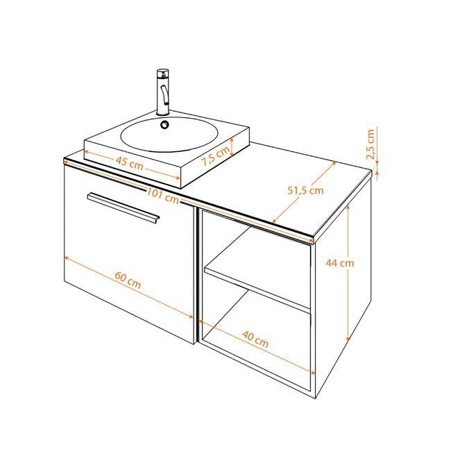 Waschtisch mit Waschbecken, Unterschrank City 203 100cm Esche schwarz – Bild 5