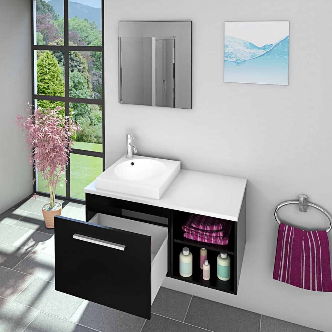 badm bel set city 202 v1 esche schwarz badezimmerm bel waschtisch 100cm. Black Bedroom Furniture Sets. Home Design Ideas