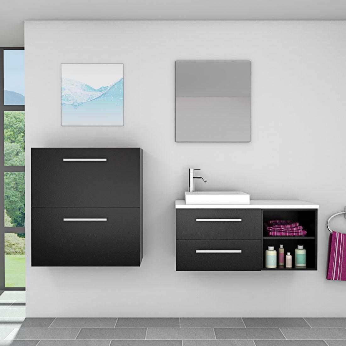 Badmöbel Set City 204 V6 Esche schwarz, Badezimmermöbel, Waschtisch