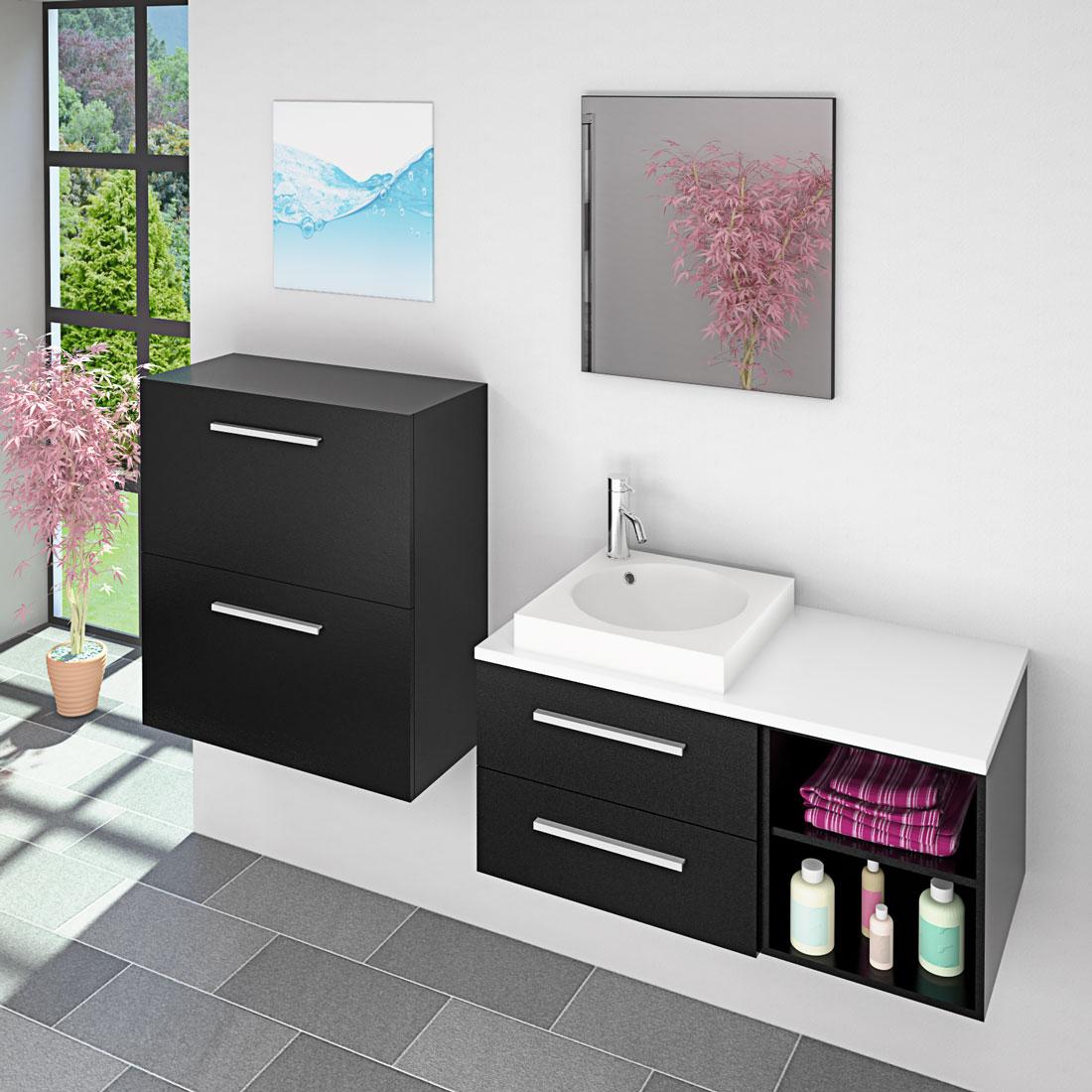 badm bel set city 204 v6 esche schwarz badezimmerm bel waschtisch 100cm. Black Bedroom Furniture Sets. Home Design Ideas