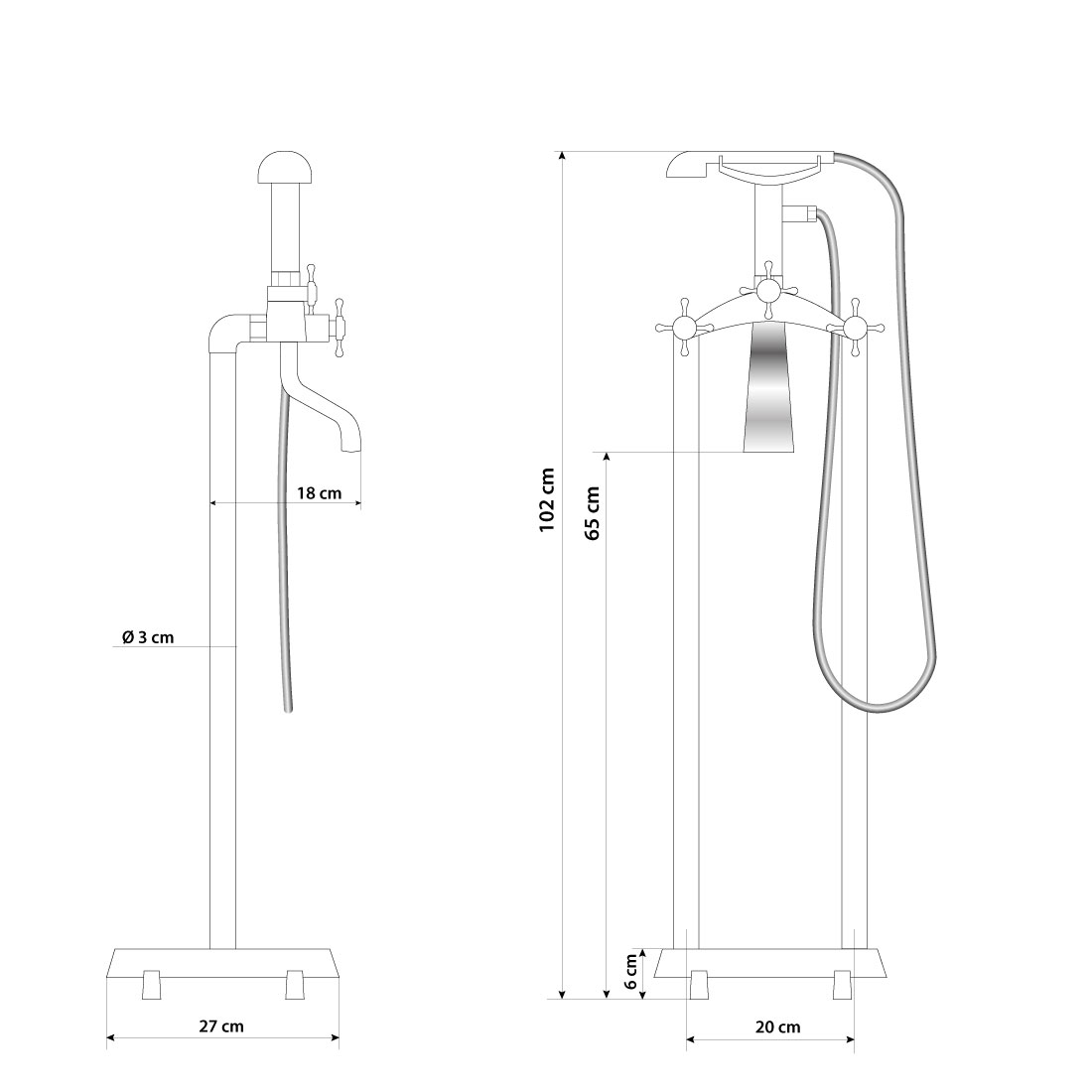Armatur freistehende wanne badewanne wannenmischbatterie standarmatur afsw01 - Standarmatur freistehende badewanne ...