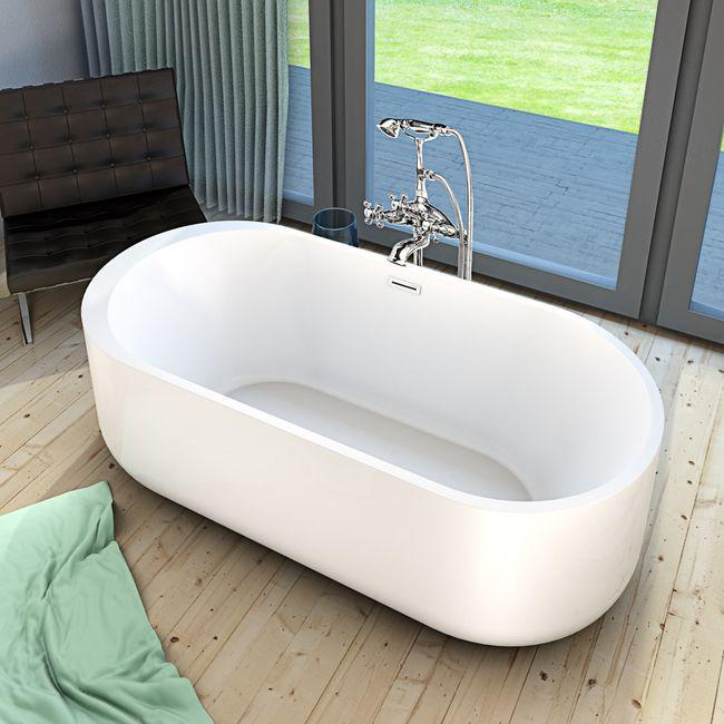 AcquaVapore freistehende Badewanne Wanne Acryl FSW06 170x80cm Armatur wählbar – Bild 13