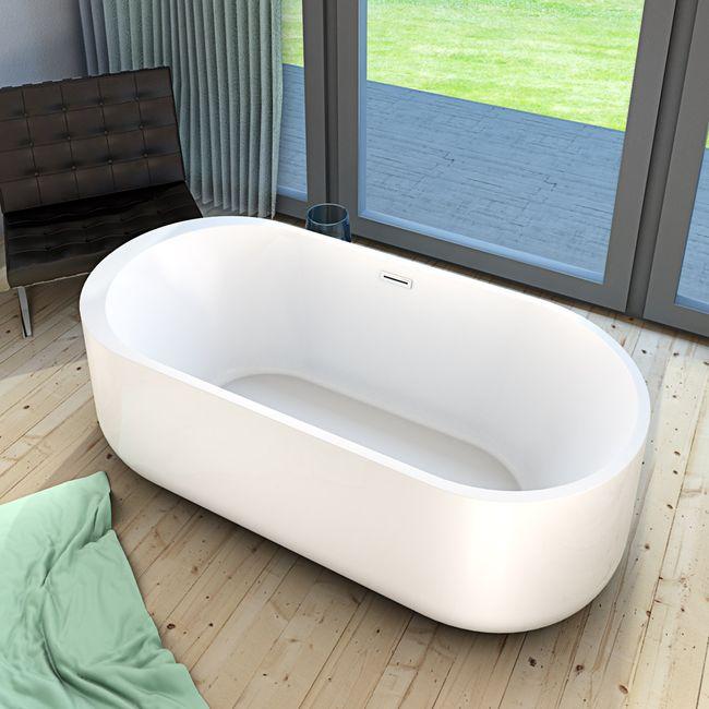 AcquaVapore freistehende Badewanne Wanne Acryl FSW06 170x80cm Armatur wählbar – Bild 7