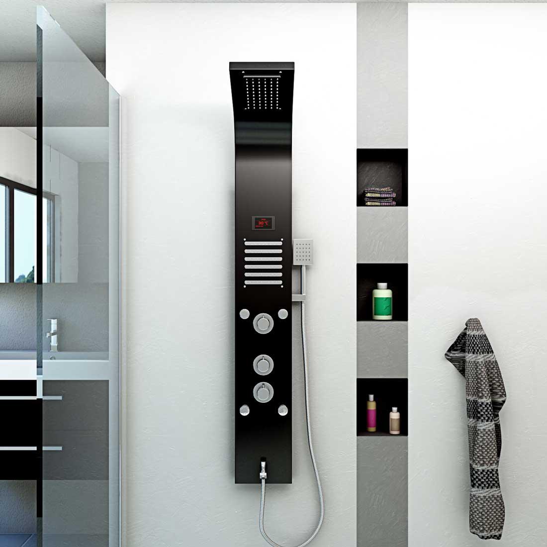 duschpaneel aus edelstahl duschs ule duscharmatur thermostat farbe schwarz dp01. Black Bedroom Furniture Sets. Home Design Ideas