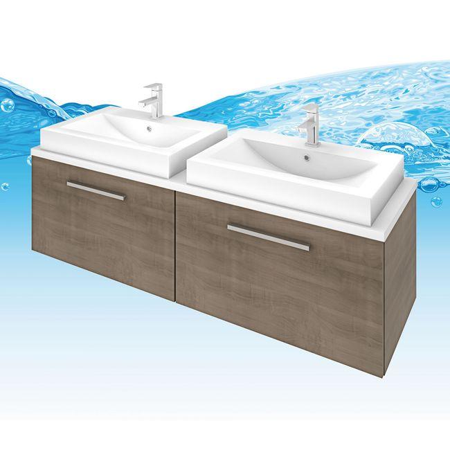 Badmöbel Set City 200 V1 Eiche hell, Badezimmermöbel, Waschtisch 160cm – Bild 9