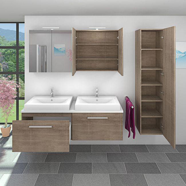 Badmöbel Set City 200 V4 Eiche hell, Badezimmermöbel, Waschtisch 160cm – Bild 3