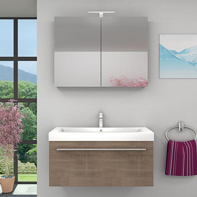 Waschtisch mit Waschbecken, Unterschrank City 100 100cm Eiche hell – Bild 4