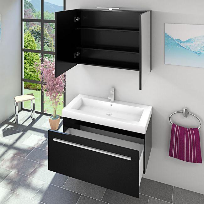 Waschtisch mit Waschbecken, Unterschrank City 100 100cm Esche schwarz – Bild 7
