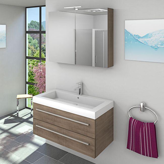 Waschtisch mit Waschbecken, Unterschrank City 101 100cm Eiche hell – Bild 5