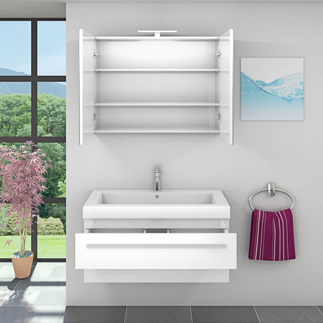 Waschtisch Mit Waschbecken Unterschrank City 101 100cm Hochglanz Weiß