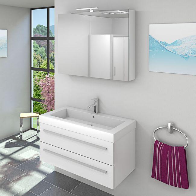 Waschtisch mit Waschbecken, Unterschrank City 101 100cm Hochglanz Weiß – Bild 5