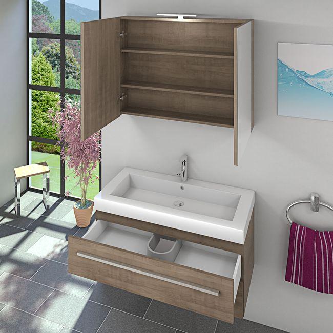 Badmöbel Set City 101 V1 Eiche hell, Badezimmermöbel, Waschtisch 100cm – Bild 4