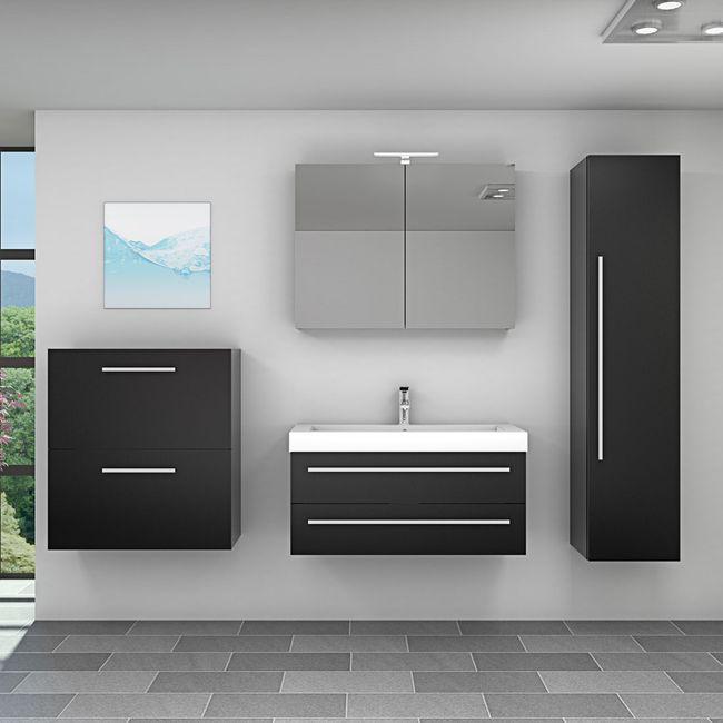 Badmöbel Set City 101 V5 Esche schwarz, Badezimmermöbel, Waschtisch 100cm – Bild 1