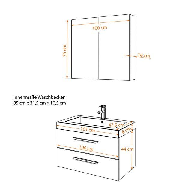 Badmöbel Set City 101 V1 Hochglanz WS Badezimmermöbel Waschtisch 100cm – Bild 5