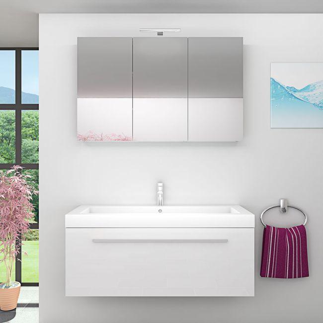 Waschtisch mit Waschbecken, Unterschrank City 100 120cm Hochglanz Weiß – Bild 4