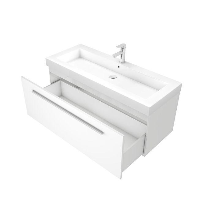 Badmöbel Set City 100 V5 Hochglanz Weiß, Badezimmermöbel, Waschtisch 120cm – Bild 11